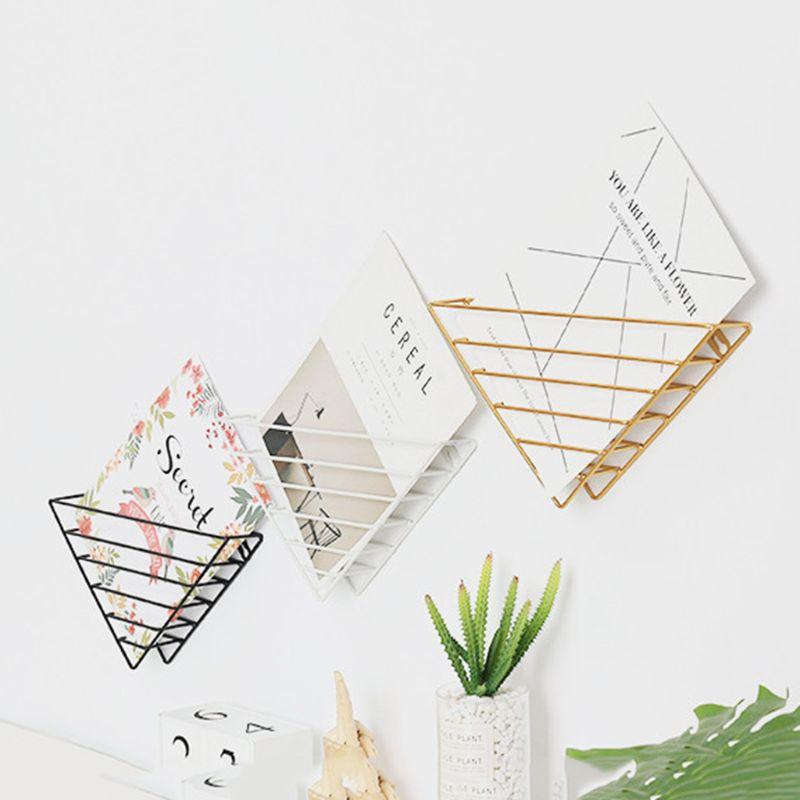 1Pc Nordic Geometric Iron Magazine Storage Rack Wall Basket Home Organizer Decor New Hot