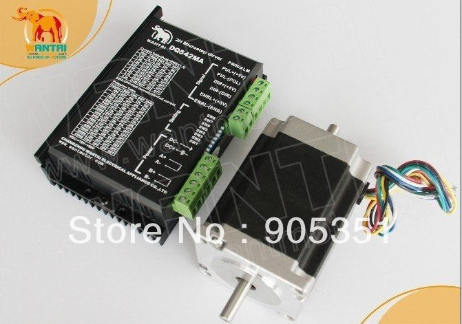 цена на Cheap CNC! Wantai Nema 23 Stepper Motor Dual Shaft 57BYGH633B 270oz-in+Driver DQ542MA 4.2A 50V 125Micro CNC Plasma Embroidery