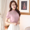 Chiffon Shirt Short Sleeved summer top 2016 women blouses lace shirts elegant slim plus size blusas patchwork tops