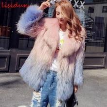 2017 natural fox fur coat plus size largo invierno mapache de punto mujeres de la chaqueta de manga larga 70 cm longitud de apertura de cama abajo vestido