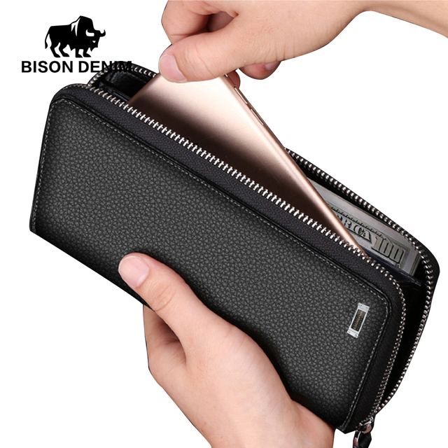 BISON DENIM Long Style Purse Men Wallet Genuine Leather Clutch Bags Coin Card Holder Men's Business Purse For men