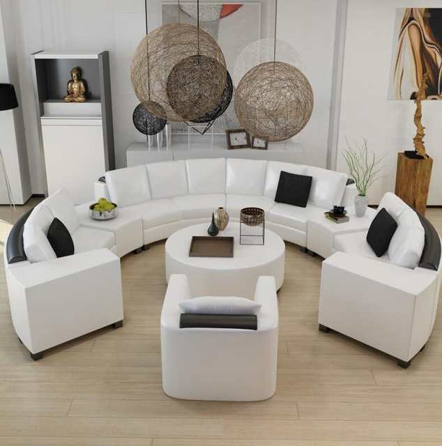 Placeholder Round Top Grain Leather Sofa Custom Creative Fashion Living Room Combination Of Modern Curved