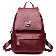 Натуральная кожа Для женщин рюкзак замок дизайнер Школьные сумки для Обувь для девочек подростков известного бренда женская сумка большой Mochilas 2017