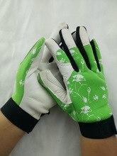 Pig grain leather working gloves green нейлона назад и эластичные манжеты.