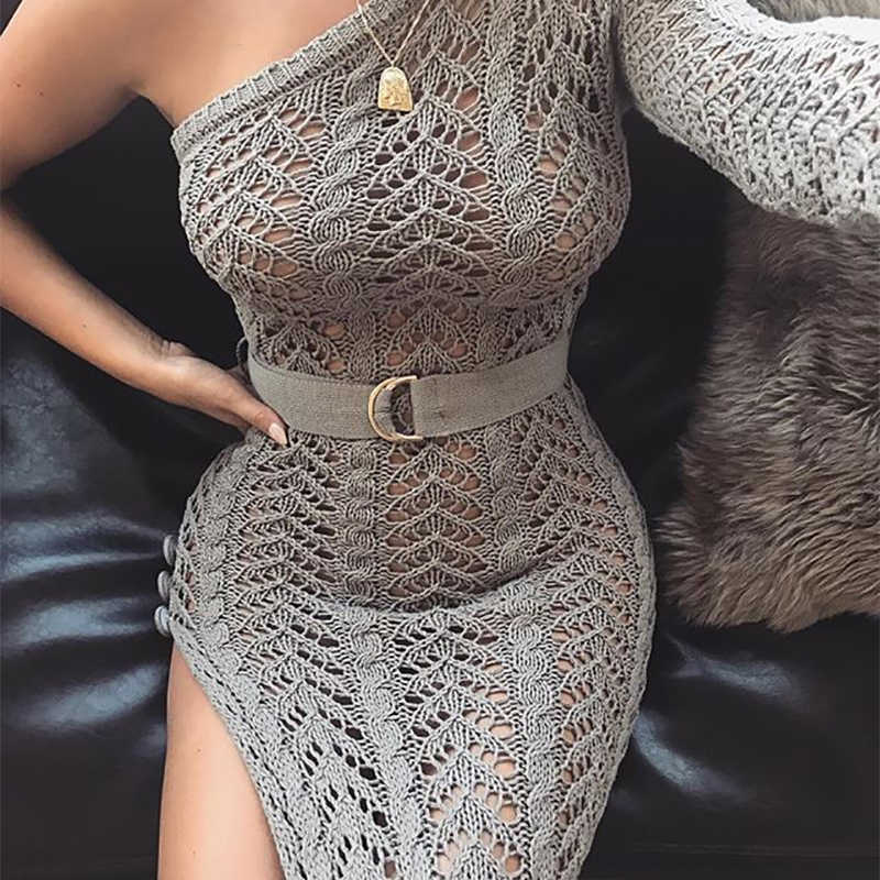 ... Colysmo Summer Dress 2018 Long Dress Women One Shoulder Maxi Dress Sexy  Hollow Out High Split ... 2d45b988f9a4