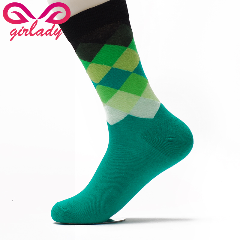 GIRLADY Happy Sock Gradient Colors Brand New Cotton Men Socks Summer Europe Spring Casual Business Fashion Young Man Sock Women