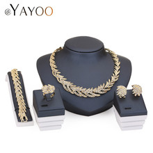 Necklace Ring Bracelet Earrings Gold Color Fine Jewelry Sets For Women Bridal Imitation Crystal Wedding Dress Accessories Set