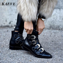 Kaeve 2016 Winter Boots New Female Genuine Leather Tactical Ankle Boot Western Vintage Rivets Studded Motorcycle Punk Shoe Woman