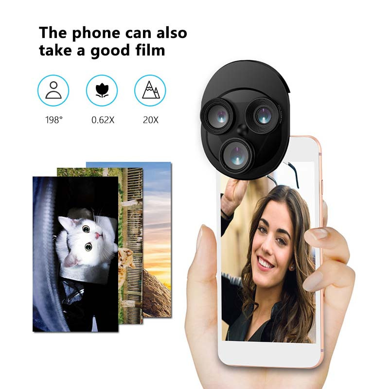 2019 New Pro Round External Use Wide-Angle Macro Integral Turntable Camera Lens Set Fish Eye 3 In 1 Mobile Phone Lenses 4 Colors