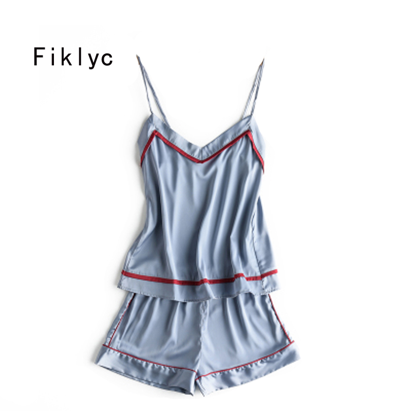 Fiklyc brand short pants sleeveless satin   pajamas     sets   women's sexy v-neck fresh & sweet nightwear slim pijamas   sets   young girls