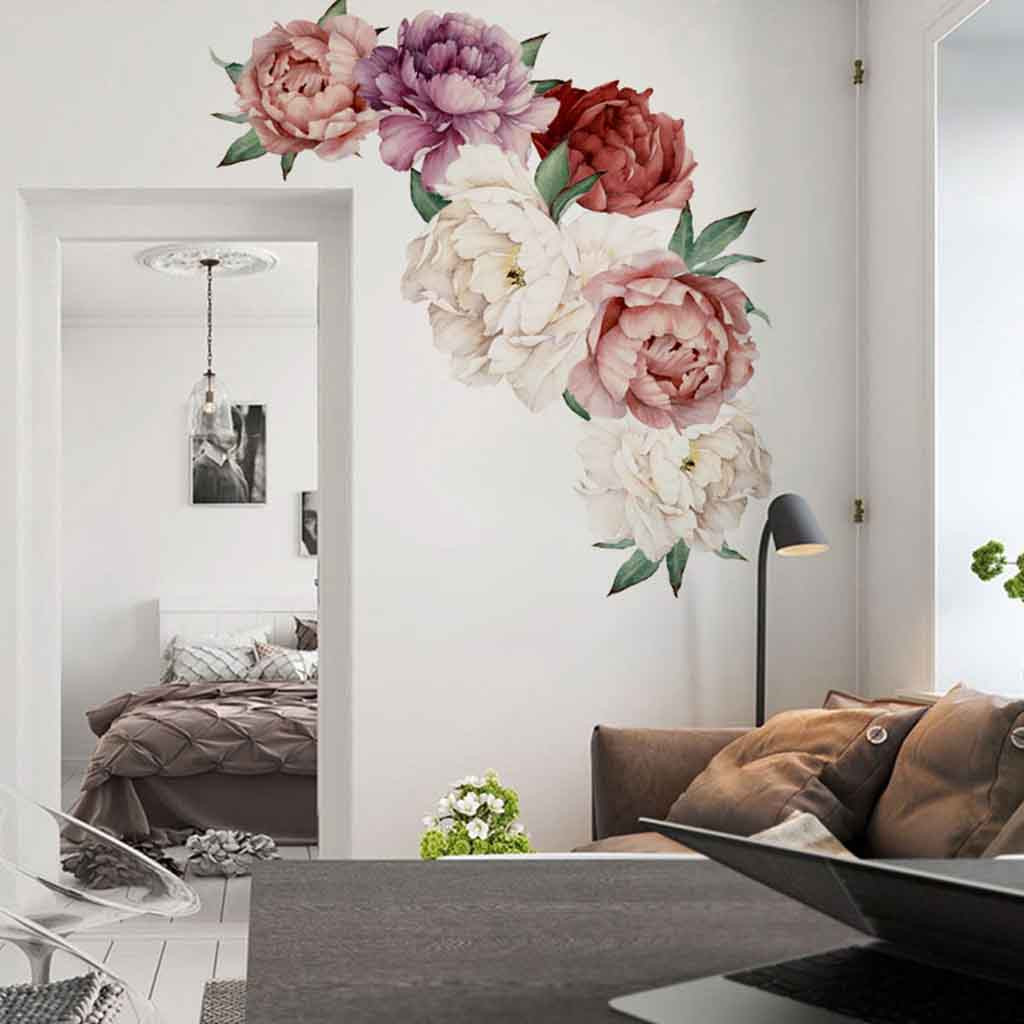 Sticker Decals Flowers Room-Decoration Peony Rose Wall-Art Nursery Kid Room Adesivo-De-Parede