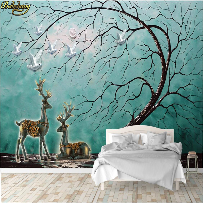 Beibehang Custom Photo Wallpaper Large Mural Wall Sticker 3D 3D Hand Painted Tree Elk TV Wall Background Wall
