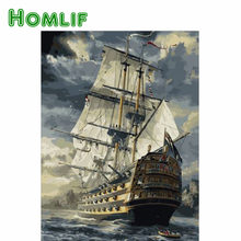 HOMLIF Hot Selling Sailing Boat DIY 5D Diamond Painting Square/Round Drill Kit Paint On Home Wall Art Picture kitchen Decor Art(China)