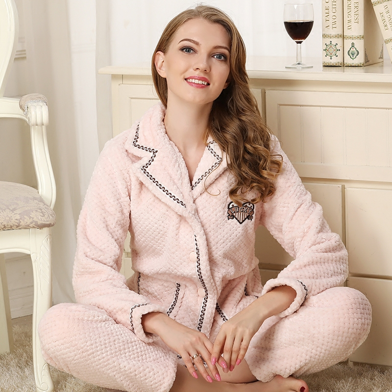 Coral fleece pajama sets women2019woman winter flannel pajamas female pink blue plus size pajama sets sleepwear velvet nightgown