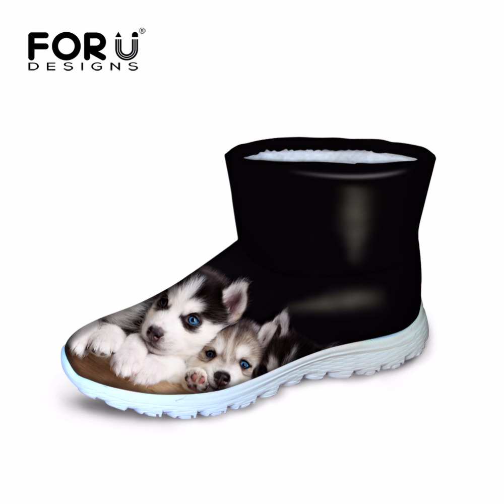 ФОТО FORUDESIGNS Women Winter Snow Boots Cute Dog Pattern Keep Warm Waterproof Ladies Casual  Warm Classic Boots Breathable Zapatos