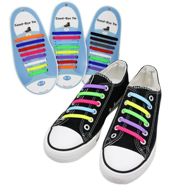16Pcs/Set Running  shoe chamrs Tie Shoelaces Fashion Unisex Athletic Elastic Silicone Shoe Lace All Sneakers Fit Strap N010