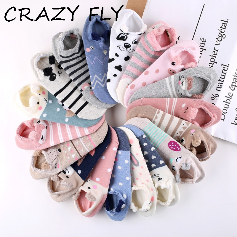 CRAZY FLY Cute Animal Cotton   Socks   Female Kawaii Cat With Dog Summer Short   Socks   Slippers Women Casual Soft Funny Boat   Socks