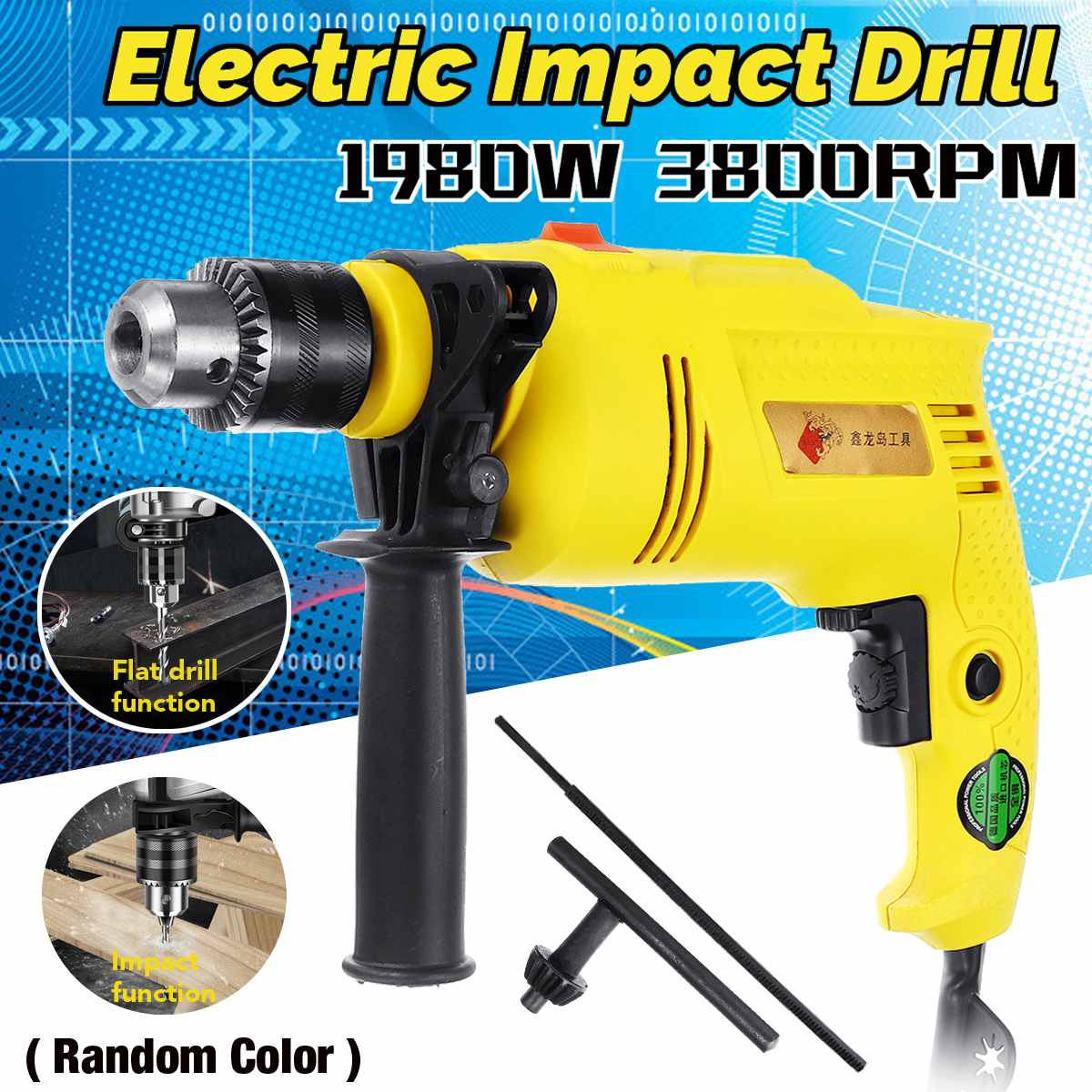 1980W Brushless Motor 13MM Electric Handheld Impact Drill Hammer Drill Impact Drill Multi-function Torque Driver Tool