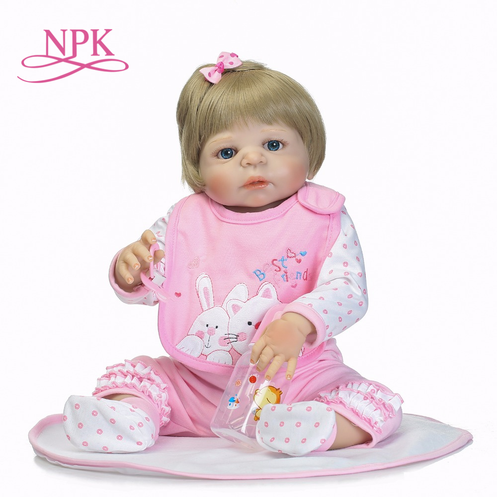 NPK 55cm full Silicone reborn baby doll Lifelike toddler bebe doll blond hair reborn baby Brinquedos toys for kids gifts BonecasNPK 55cm full Silicone reborn baby doll Lifelike toddler bebe doll blond hair reborn baby Brinquedos toys for kids gifts Bonecas