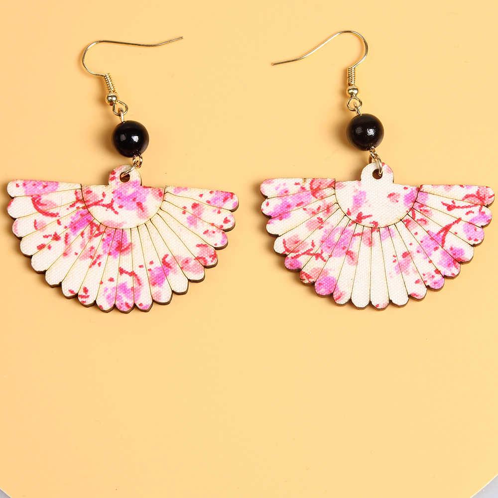 Suki Gaya Jepang Bunga Sakura Merah Muda Anting-Anting Kayu Bunga Fan Bentuk Drop Menjuntai Anting-Anting untuk Wanita Lady Telinga Memakai Perhiasan