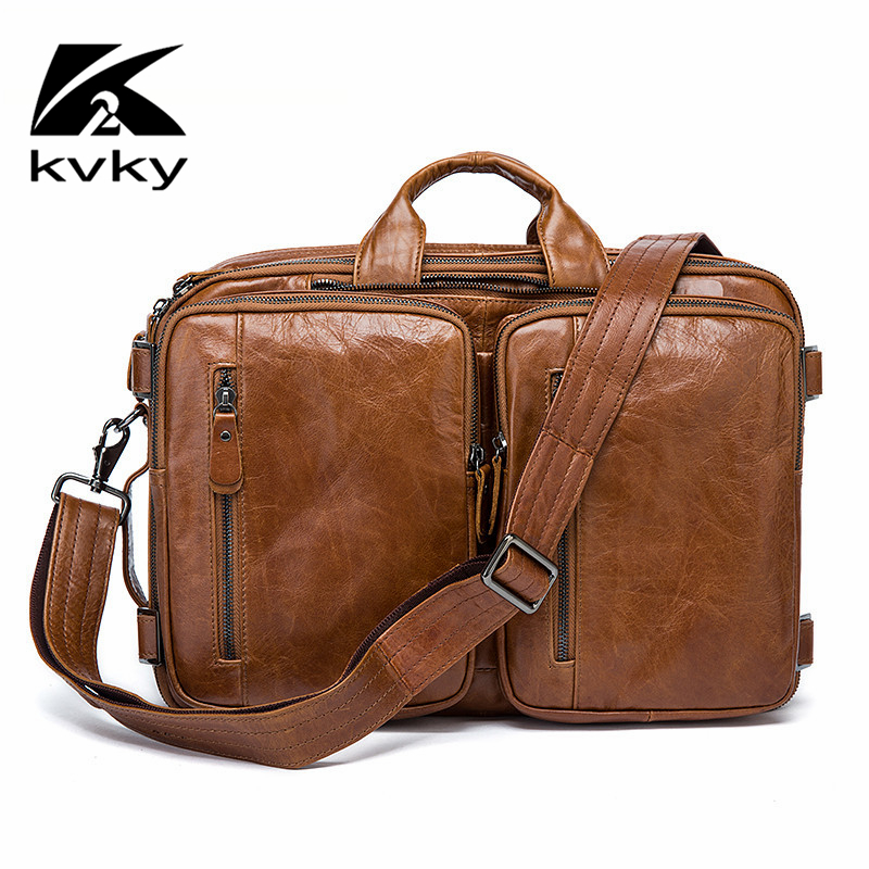 KVKY Luxury Natural Genuine Leather Men's Bag Business Laptop Briefcase Tote Bags Casual Multi-fuction Travel Shoulder HandBags luxury real genuine leather men bags business lapto briefcase tote bag multi fuction handbags men s casual crossbod shoulder