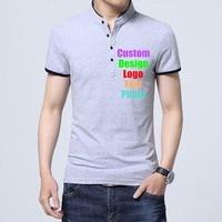 Custom Made Logo Photo Text Printed Men T shirt buttons up stand collar patchwork smart business company Team Man Tee Shirts 4XL