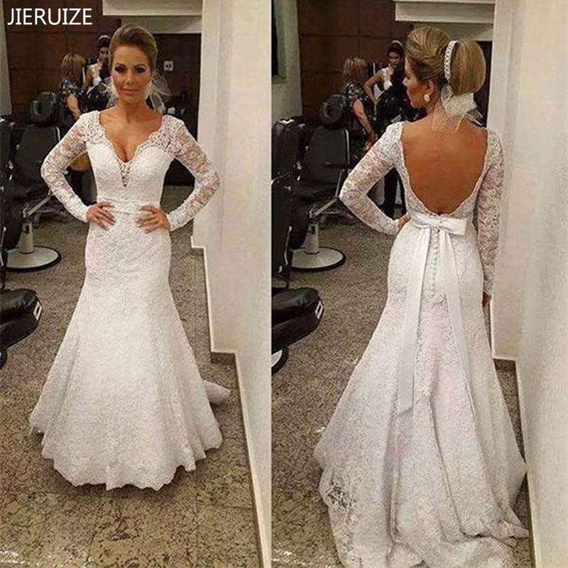 JIERUIZE White Vintage Lace Mermaid Wedding Dresses Backless Long Sleeves Wedding Gowns Boho Bridal Dresses Vestido De Noiva