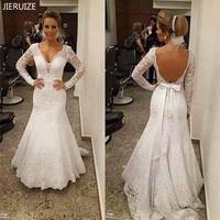 JIERUIZE White Vintage Lace Mermaid Wedding Dresses Backless Long Sleeves Wedding Gowns Boho Bridal Dresses vestido de noiva