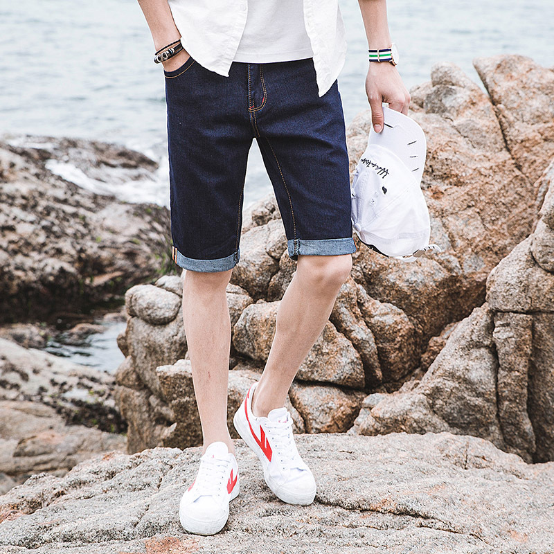 Summer denim five new stretch blue thin straight loose pants tide