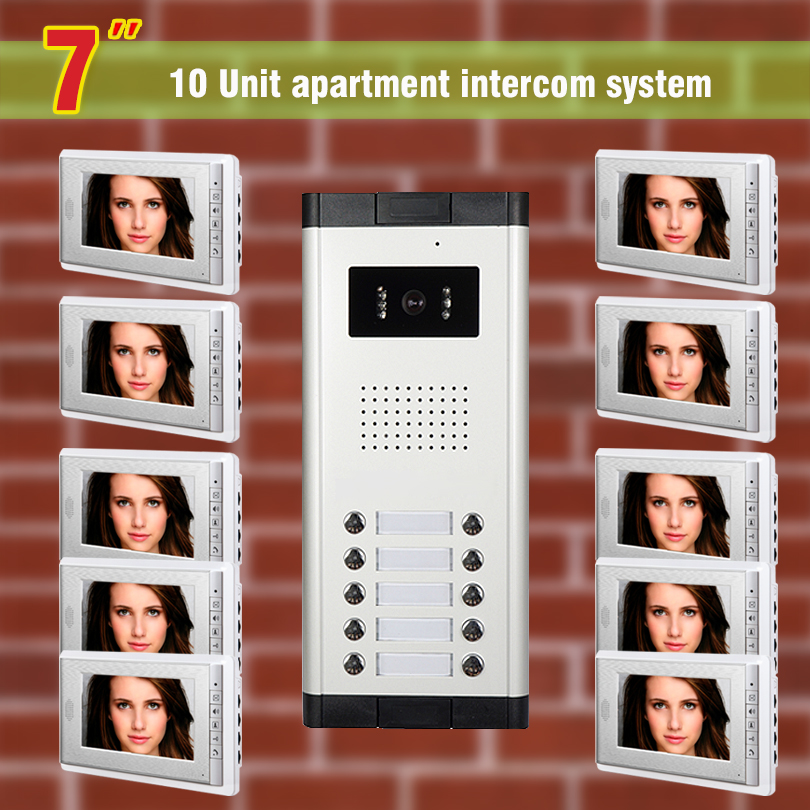10 units Apartment Video Intercom System 7 Inch Monitor Video Door Phone doorbell kit for apartment visaul intercom entry system apartment intercom system 7 inch monitor 6 units apartment video door phone intercom system video intercom doorbell kit