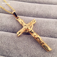 18K Gold Plated Jesus Cross Pendant Hip Hop Snake Link Chain Crucifix Charm Necklace Gift Mens