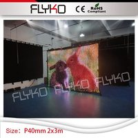 2x3m P40mm amazing colorful RGB3in1 led video curtain music stage backdrop dj wedding church video curtain