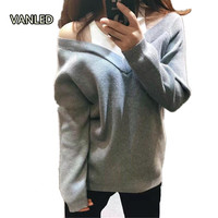 New Spring False Two Strapless Pullover Camisole Sleeved Loose V Neck Knitting Pullover Women Sweater