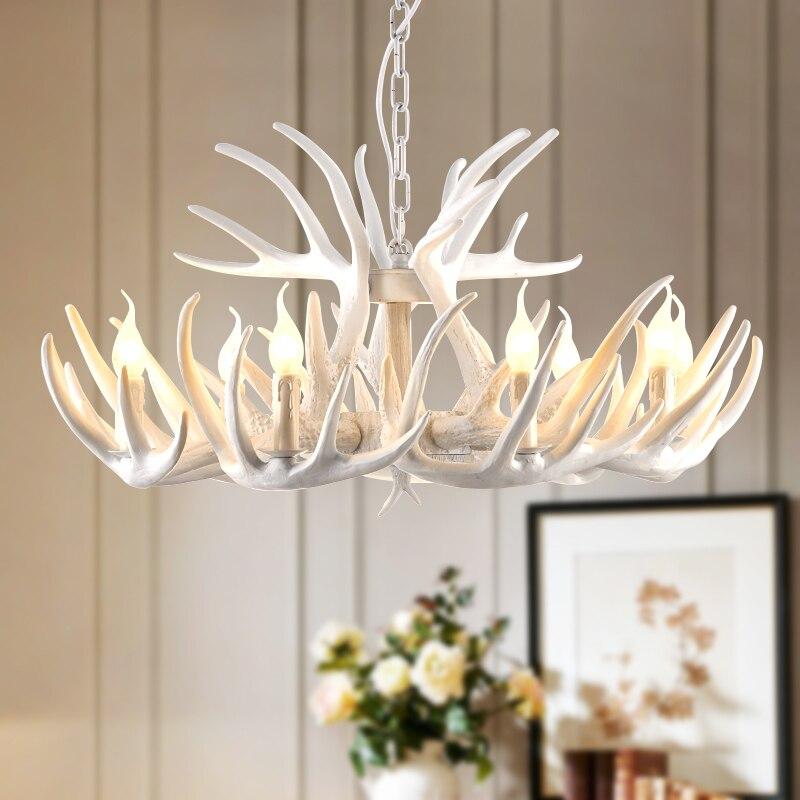 Retro Art Resin resin antler chandelier White Lampshade Horn Deer Lamp Kitchen Bar Restaurant Hotel modern retro