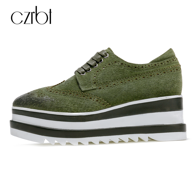 CZRBT High Quality Women Shoes Cow Suede Leather Lace-Up Flatform Shoes Women Flat Heel Height Increasing Shoes Casual FlatsCZRBT High Quality Women Shoes Cow Suede Leather Lace-Up Flatform Shoes Women Flat Heel Height Increasing Shoes Casual Flats