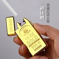Classic Gold Bars Electric Pulse Arc Lighter USB Charging Cigarette Lighter Case Men USB Lighter Business