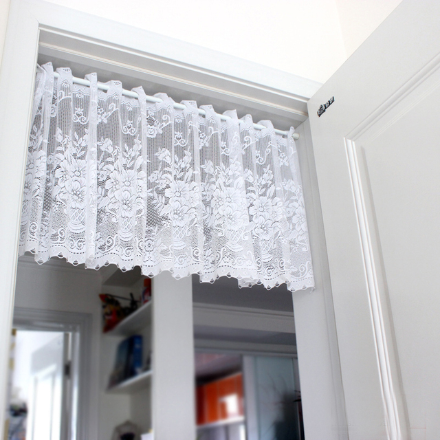 XinHuaEase Short White Tulle Curtain For Kitchen Window Sheer Door Curtains  Cortinas Roman Blinds Finished Decorative Valances