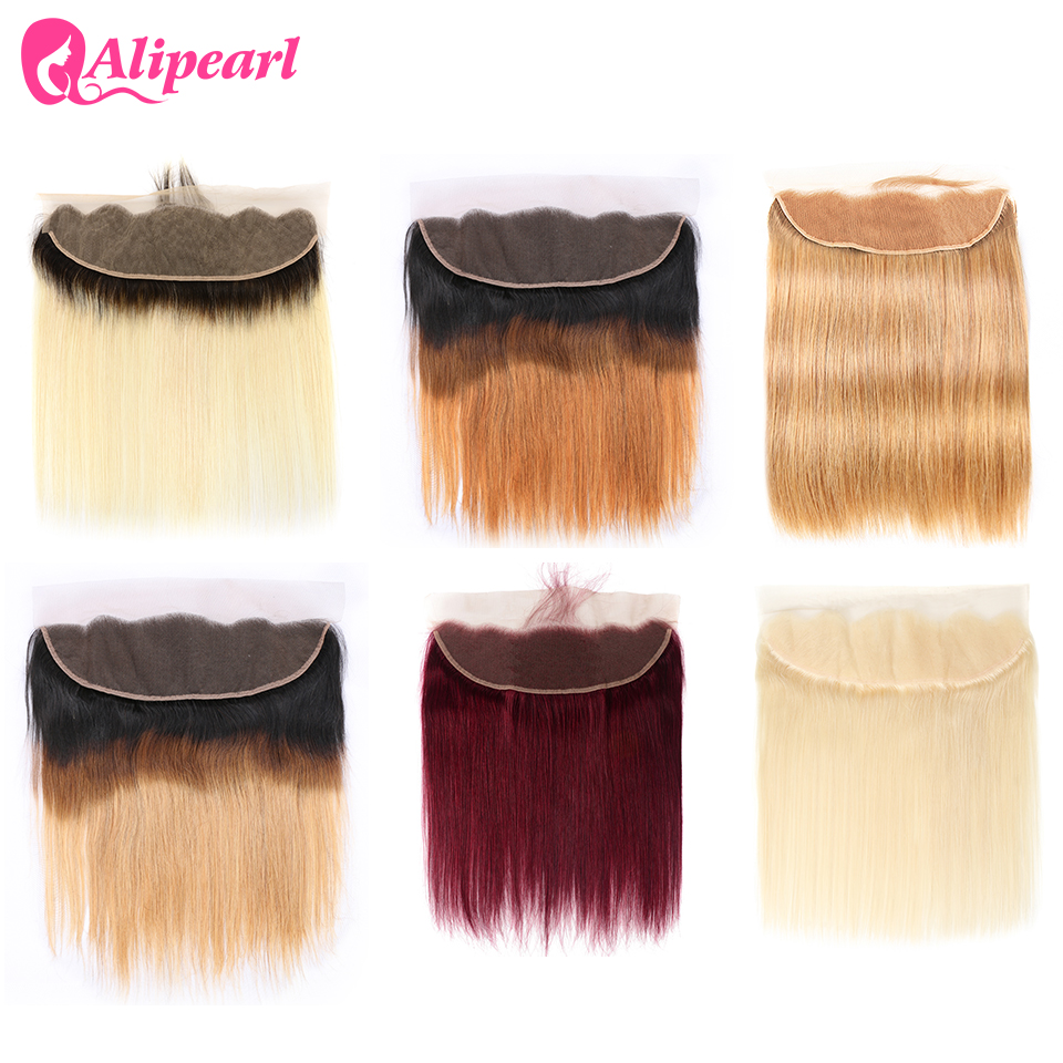 Ali Pearl Hair 613 Blonde Lace Frontal Ear To Ear 13x4 Frontal #27 1B/4/27 Brazilian Frontal 7 Colors Available 8-20Inches Remy
