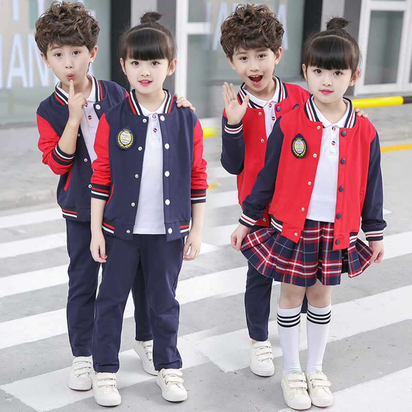 buy popular bc7d7 12cbb Detail Feedback Questions about 2PCs Girls Plaid Skirt School Uniform  Costumes Boys Jacket+trousers Clothing Set Autumn Primary School Uniform for  Kids ...