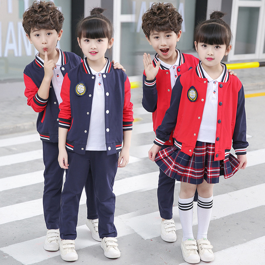 2PCs Girls Plaid Skirt School Uniform Costumes Boys Jacket+trousers Clothing Set Autumn Primary School Uniform for Kids Girls