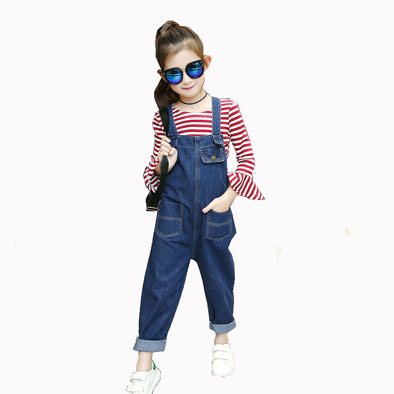 2017 Spring New Stripes 4-14y Girl Sweet Lotus Leaf Sleeve Bottoming Jeans Cowboy Strap Cute Pants Suit men s cowboy jeans fashion blue jeans pant men plus sizes regular slim fit denim jean pants male high quality brand jeans