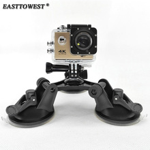 Easttowest Gopro Accessories Fat Gecko Gopro Hero Triple Suction Cup Mount for Xiaomi Yi Sjcam Sj4000 Sj7000 Action Camera