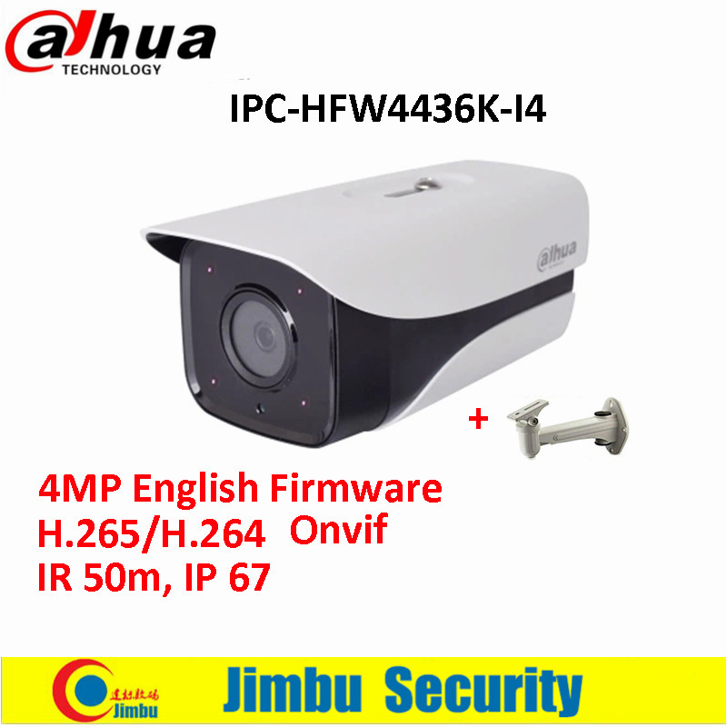 Original Dahua IP Camera DH-IPC-HFW4436K-I4 4MP English Firmware H.265/H.264 Network IR120m WDR Bullet with free bracket dahua 4mp wdr ipc hfw4431e s h 265 fixed lens3 6mm ir40m network waterproof ip67 smart detection bullet ip camera hfw4431e s
