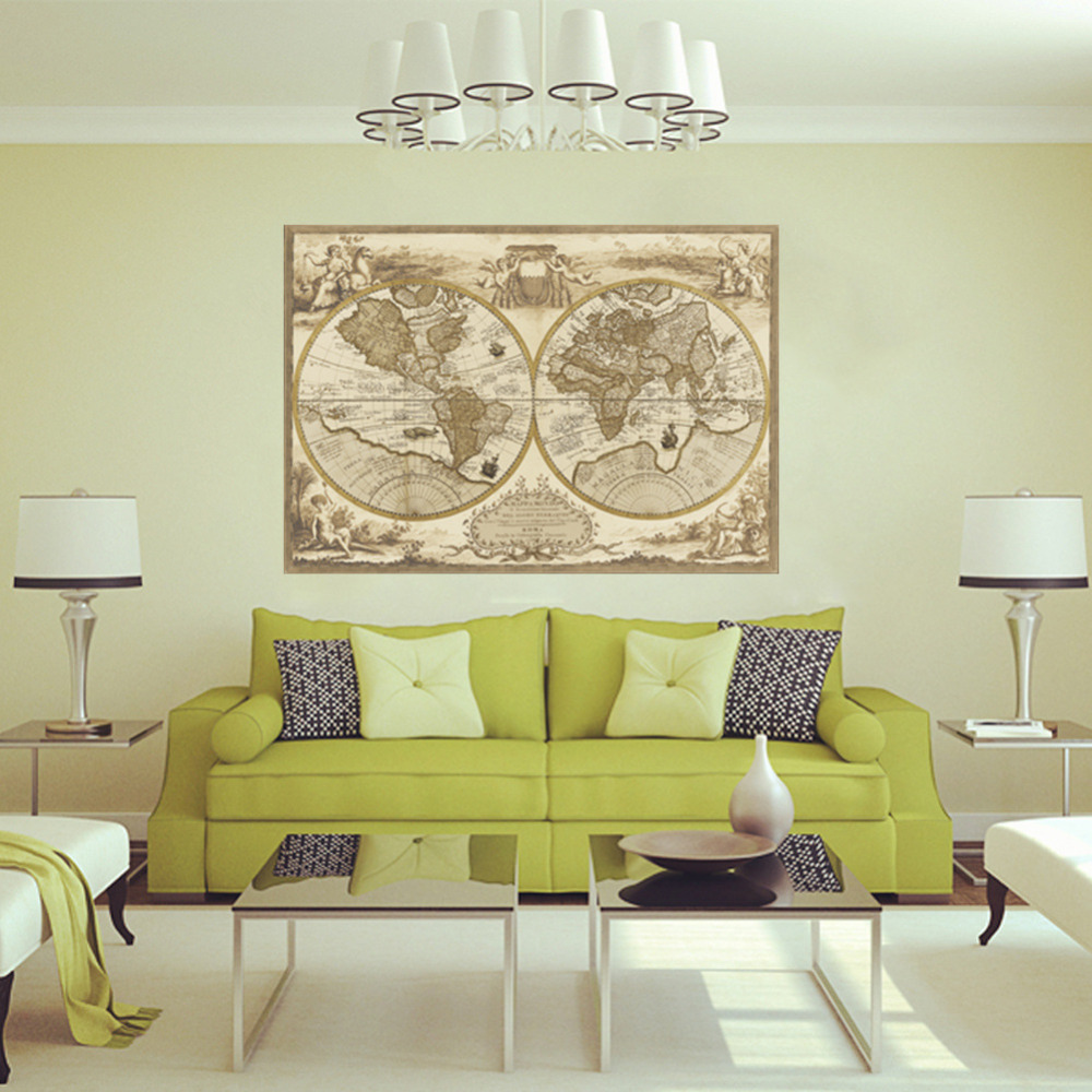 world map vintage design wall decal sticker home decor for living room