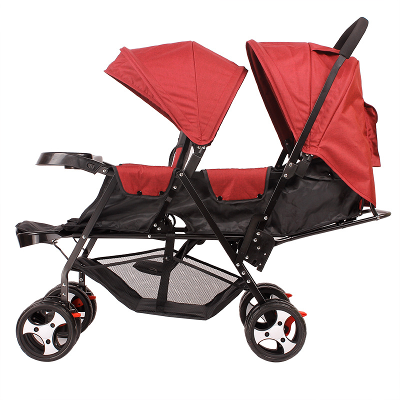 Twin Prams Travel Systems: Can Sit Lying Twins Baby Stroller Lightweight Pram Folding