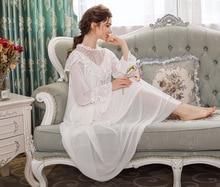 Vintage Nightdress Women Long Nightgowns Sleepshirts Nightwear Sleepwear Home Wear Dress Hollow-out Lace Modal Mesh