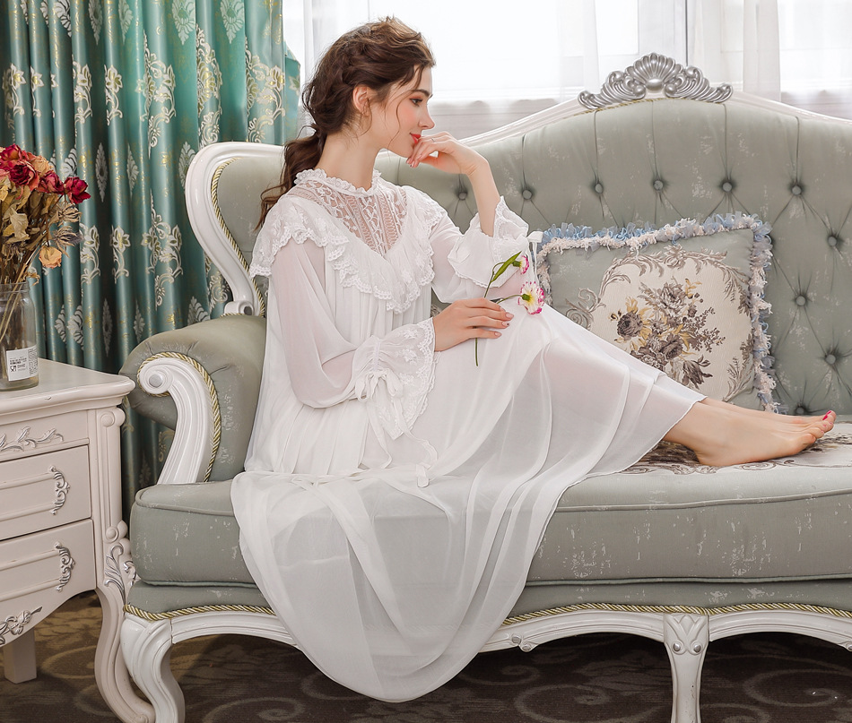Vintage Nightdress Women Long   Nightgowns     Sleepshirts   Nightwear Sleepwear Home Wear Dress Hollow-out Lace Modal Mesh