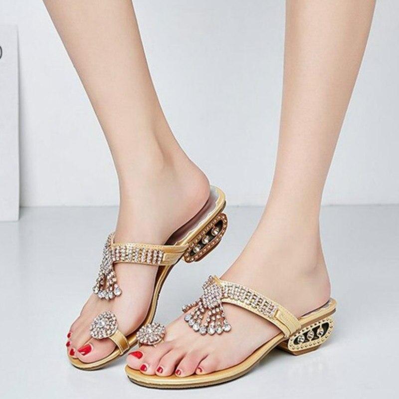 De Verano Las Bajo Zapatos Mujer Tacón Mujeres 2019 BlingSandalias PuXZikO