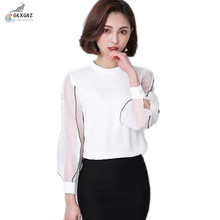 OKXGNZ Lantern sleeves Chiffon Shirt Women 2017 Spring New Korean Large size Women Clothing Fashion Long-sleeved Shirt Clothes