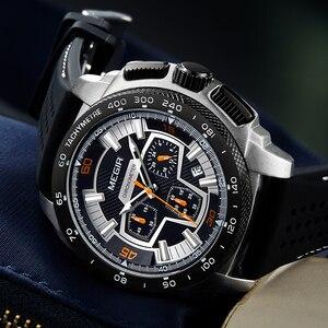 Image 5 - Часы MEGIR мужские кварцевые с хронографом, модные повседневные армейские спортивные, в стиле милитари, с силиконовым ремешком